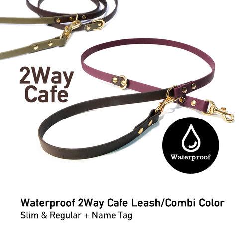 Waterproof 防水素材の2WayCafeリード  名入れ真鍮ネームプレート付き Combi Color