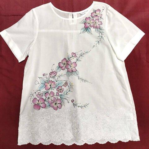 ファブリック Tシャツ(花柄)・ハンドペイント・手書き