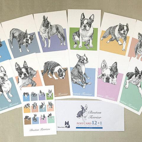 ボストンテリアのスケッチ画12種類ポストカードセット(ver.2018)