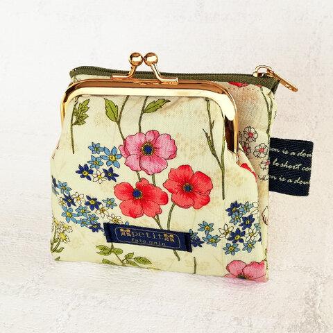 miniwallet 二つ折りミニ財布 ポーチ カードケース ボタニカル 花 リバティ風