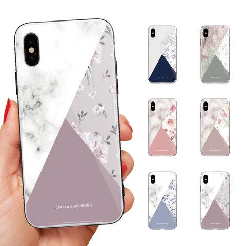 ガラスケース iPhone 13 Pro mini 12 11 XR SE 8 iPhoneケース TPUケース 強化ガラス 海外 花柄 花 FLOWER バイカラー bicolor カラー トレンド