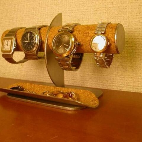 腕時計 飾る 腕時計4本掛け角トレイ付きハーフムーン腕時計スタンド img204