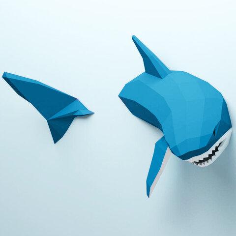 【壁掛けインテリア】壁を泳ぐホウジロザメ DIY 動物 ペーパークラフト