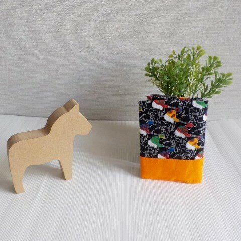 黒★競馬柄カードケース(橙)