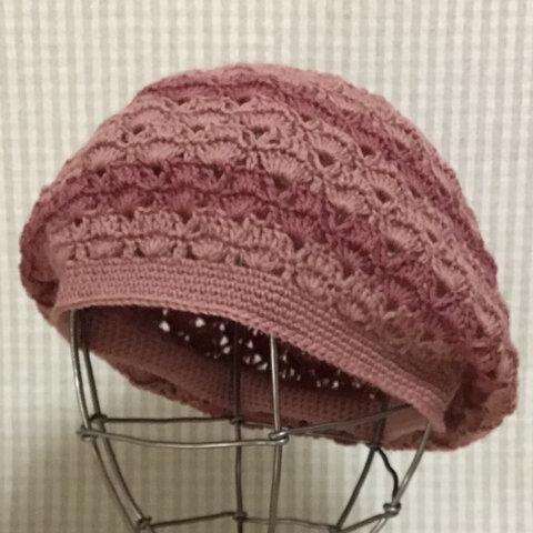 新作✨純毛中細🐏で編んだかぎ針編み秋色ボーダーベレー帽/サーモンピンク