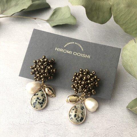 Beads work earrings with Dalmatian Jasper