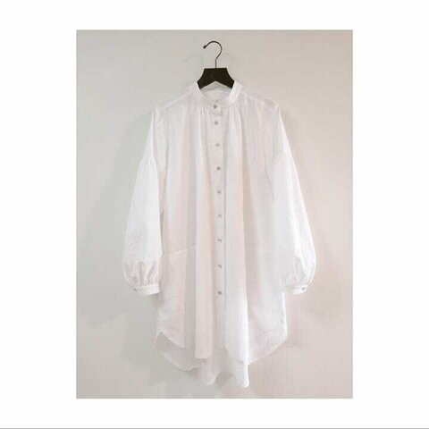 【受注制作】たっぷりギャザーのセミロングシャツ