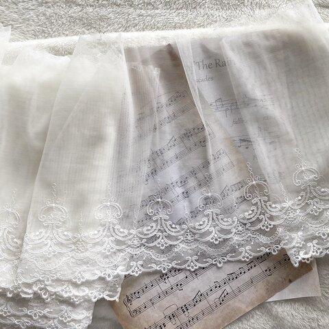 1m 美しい ロココ調 刺繍 チュールレース 白 BK210921 ハンドメイド 手芸 素材 材料 DIY
