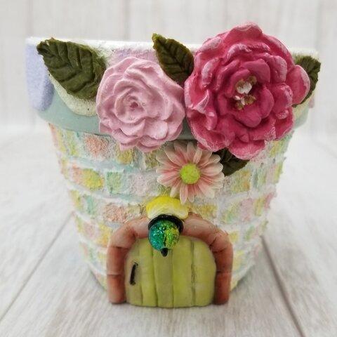 (新作) 可愛いお花リメイク鉢 お家シリーズ