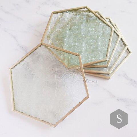 【1個】レトロガラスのディスプレイ台(S) 六角形シルバー  コースター 撮影小物 ステージ