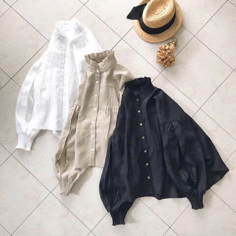 新色♪袖レース切替ふんわりリネンブラウス (白・紺・黒)