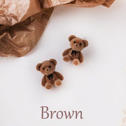 在庫last 1 ベロア テディベア🐻ピアス ブラウン