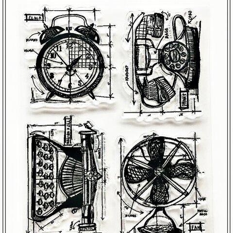 【No.199】 クリアスタンプ シリコンスタンプ レトロ 時計
