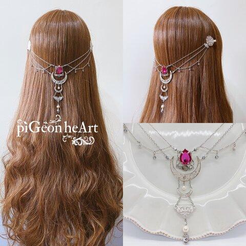 バックカチューシャ ❥Angel  月と月の雫 大天使の髪飾りFS 〜サドキエル〜