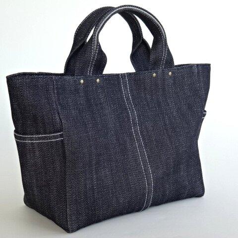 A4 個性派 デニムの トートバッグ・サイドポケット付き 大きめ バッグ