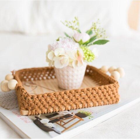 手編み小物トレー 茶色 毛糸 北欧 インテリア 飾り 収納 小物入れ