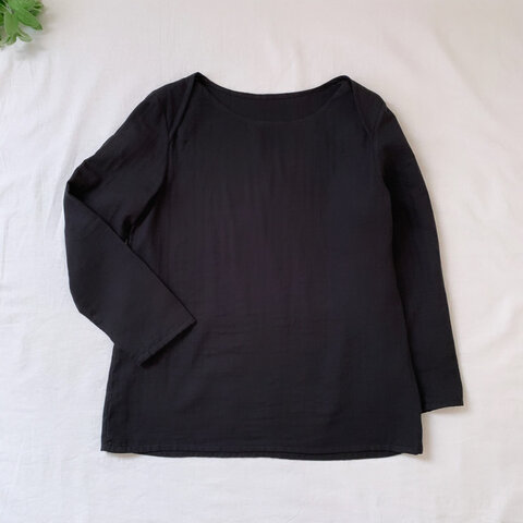 【ふわとろダブルガーゼ】S.M.L.LL 選べる袖口 リップネック トップス 長袖・ブラック色【くが屋】