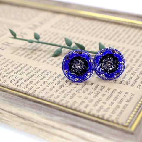 チェコガラスイヤリング -blue_black flower-