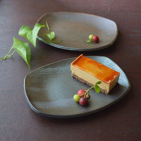 四方皿/黒・焼き〆陶器(レンジ、オーブン、食洗器対応)