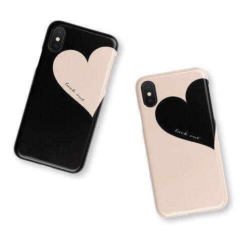 Big Heart♡Beige 名入れ/スマホケース/ハート/iPhoneケース/iPhoneSE2/iPhone8/iPhoneXS/iPhone12pro/Xperia/Galaxy