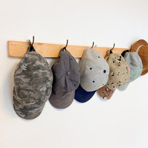 6連 壁掛けフック(ナチュラル)壁面収納 ウォールフック ウォールハンガー ハンガーラック 木製 帽子掛け バッグ掛け マスク掛け リビング収納 ナチュラル家具 カフェ風 リビング収納