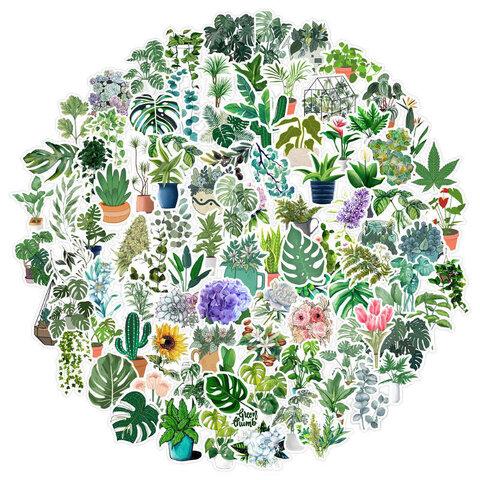 緑 観葉植物 盆栽 お花🌵フレークシール 大き目 100枚