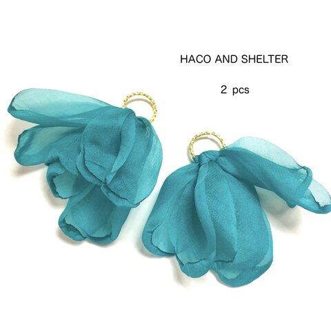 2pcs★chiffon petal tassel・emerald( シフォンタッセルチャーム)