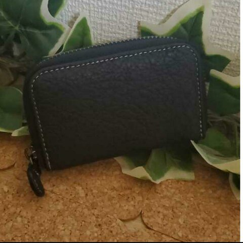 サービス価格 牛革 本革 フランス製 カードケース ジップ ジャバラ型 ブラック