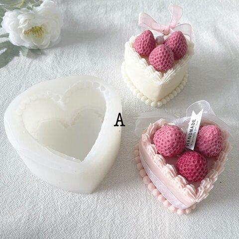 1p 可愛いハートデコレーションケーキキャンドルモールド シリコンモールド モールド ハート型 ケーキ型