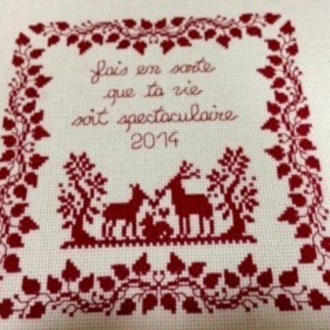【オーダー】クロスステッチ完成品♪クリスマス鹿の家族
