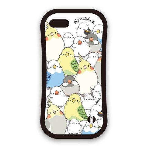 iPhone用グリップケース  シマエナガのインコと文鳥がいっぱい