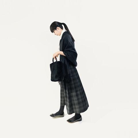 秋冬 ウォッシャブル ウール グレー タータンチェック ロングスカート ●ASTRID●