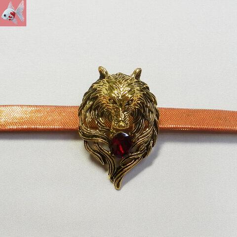 ◆オオカミの帯留め飾り① レッド