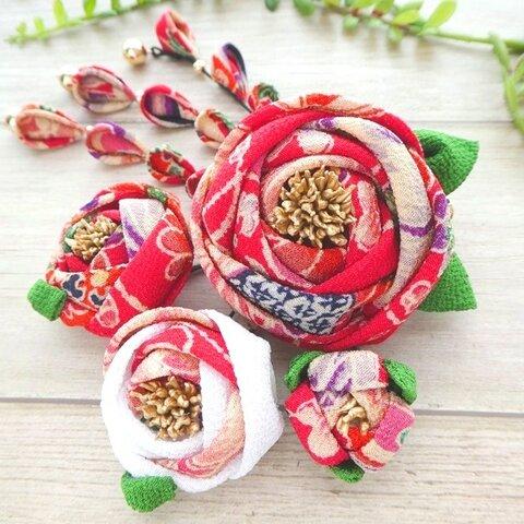 椿のクリップ髪飾りセット*吉祥菊花柄×白 #つまみ細工 七五三・着物・お正月・成人式に