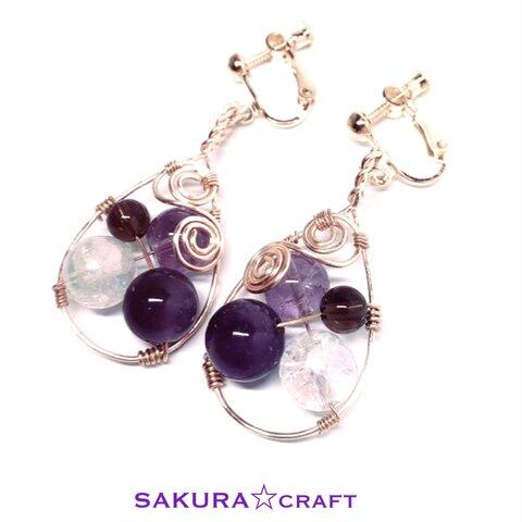 天然石ワイヤーアートイヤリング Natural stone wire art earrings