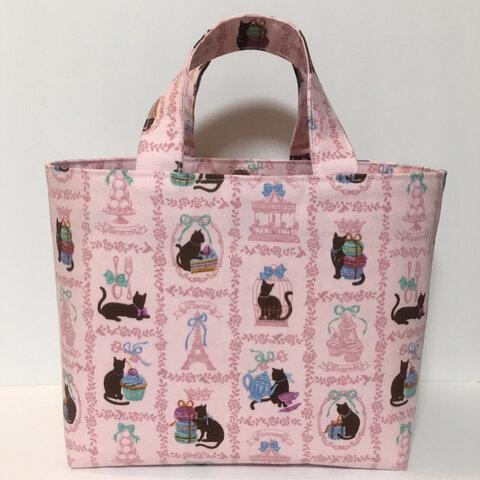 再販*黒猫とスイーツのミニトートバッグ*ピンク