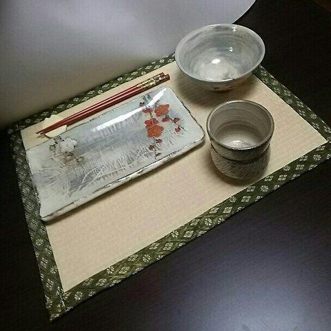 たたみランチョンマット白茶色(耐水性)樹脂加工カラー表