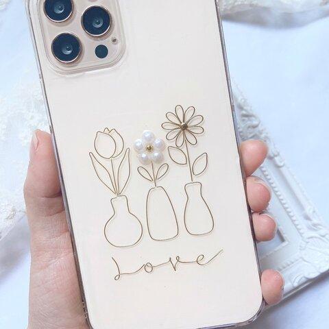 ☆人気☆【Love・Flower】クリアケース ゴールド iPhoneSE第2世代 iPhone11 iPhone11Pro iPhone12 iPhone12Pro iPhone12 mini