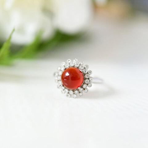 絆 子宝 情熱 恋愛成就を象徴する石 レッドアゲートとジルコニアのフラワー指輪 リング 1月誕生石