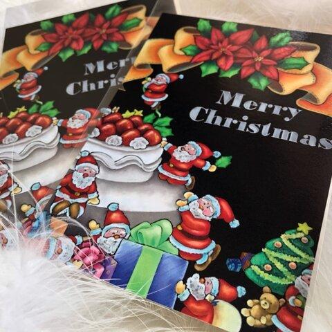 ポストカード 同柄2枚組 チョークアート(サンタさんがいっぱい)