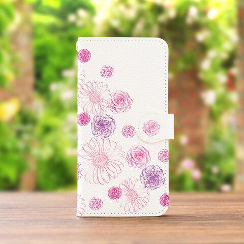ガーベラチェリーピンク の スマホケース 手帳型 iPhone XPERIA GALAXY AQUOS HUAWEI ケース 全機種対応 花柄