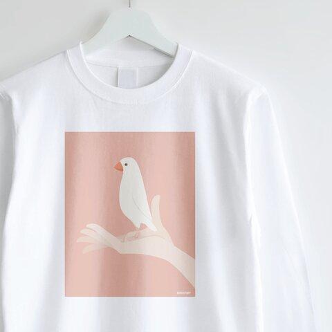 長袖Tシャツ(手タクシー / 白文鳥)