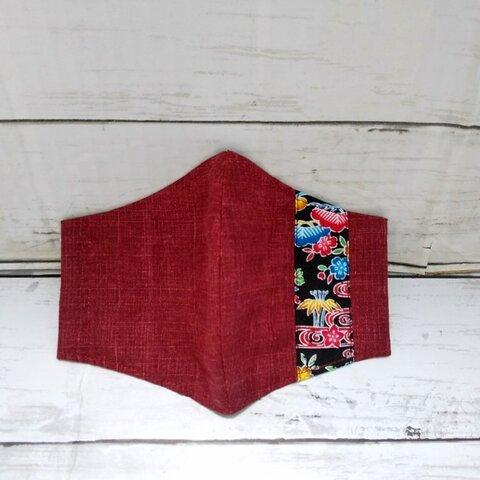 【サイズが選べる】沖縄紅型柄(松竹梅)ラインの立体布マスク(ワイン色&黒色ライン)