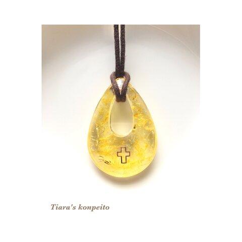 金運・直感・エネルギー/レモンカラークラッククォーツの十字架と翼のオルゴナイト ペンダント (小)