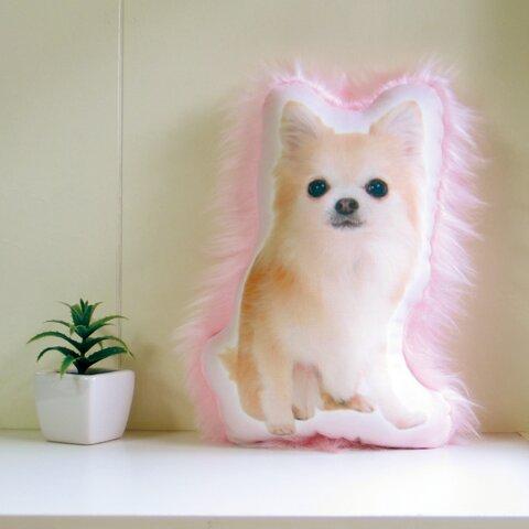 犬 猫 ペット 動物 チワワ クッション ぬいぐるみ インテリア メモリアル プレゼント オーダーメイド 画像 写真 フサフサn