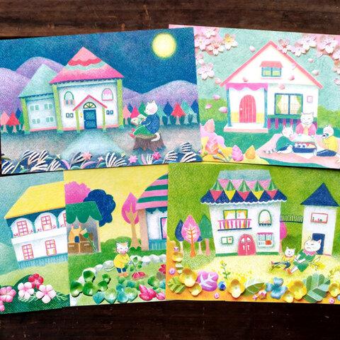 色鉛筆画ポストカード5種【Aセット】