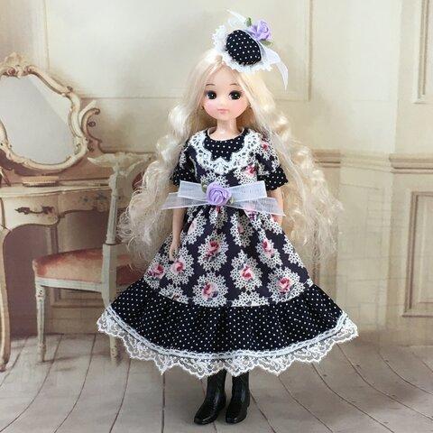 ヘッドドレス付きワンピース 薔薇柄 ネイビー系 ブライス、リカちゃん