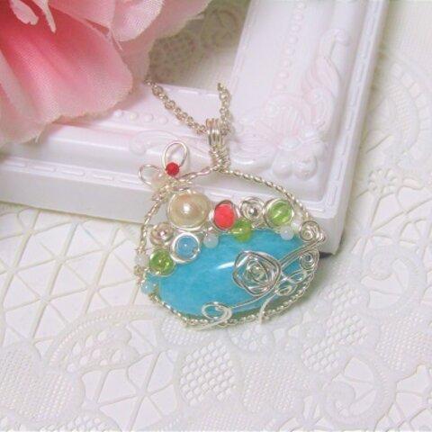 天然石アマゾナイトの花籠ネックレス<N610>ネックレストップ ワイヤージュエリー