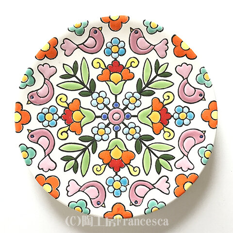 スペインタイルアート:花と鳥の飾り皿B