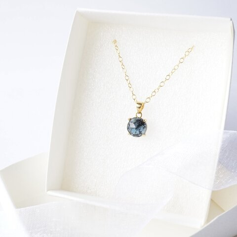 『深海ブルー』モスカイヤナイト 夏色の天然石 一粒ネックレス
